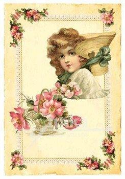 Pohlednice - Růžové květy a holčička, klobouk