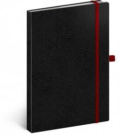 Notes - Vivella Classic černý/červený, tečkovaný, 15 x 21 cm