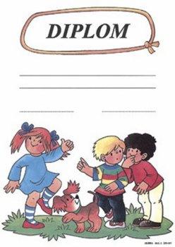 Diplom: Děti a psík / formát A4, karton silný /