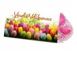 Pohled s dárkem : Velikonoce/Tulipány