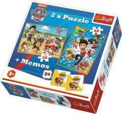 Puzzle Tlapková patrola 30+48 dílků + pexeso
