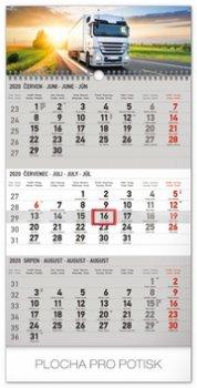 Kalendář nástěnný 2020 - 3měsíční truck šedý – s českými jmény, 29,5 × 43 cm