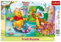 Puzzle Medvídek Pú: Hledání pokladu 15 dílků