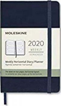Moleskine: Horizontální týdenní diář 2020 tvrdý modrý S