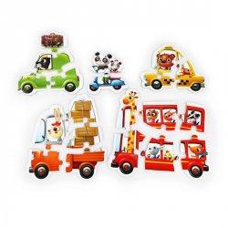 Auta: puzzle 5 obrázků 20 dílků