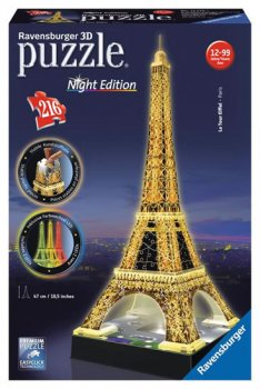 Puzzle noční edice 3D - Eiffelova věž 216 dílků