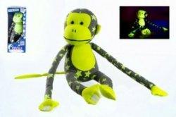 Opice svítící ve tmě plyš šedá/žlutá