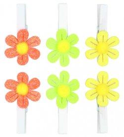 Kolíčky 5 cm s kytičkou/mix barev 6ks