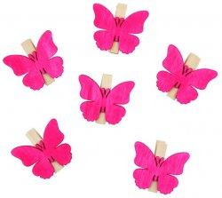 Dřevění motýli 4 cm s kolíčkem/růžový 6 ks