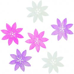 Dřevěné výseky 6 cm/ květy růžový mix 6 ks