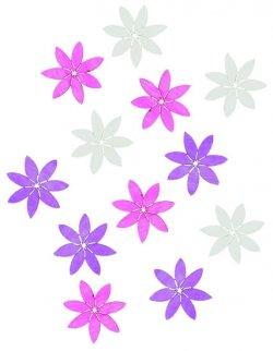 Dřevěné květy 4 cm/růžovofialový mix 12 ks