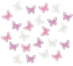 Dřevění motýli 2 cm/růžovofialový mix 24 ks