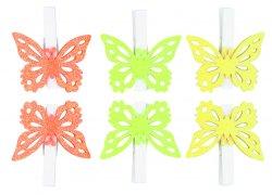 Kolíčky 5 cm s motýlky/mix barev 6 ks