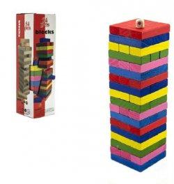 Hra Jenga věž dřevo 54 ks barevných dílků hlavolam v krabičce 8x29cm
