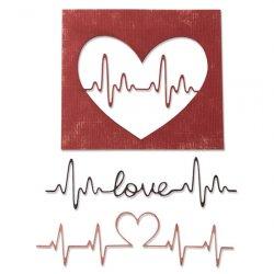 SIZZIX Thinlits vyřezávací kovové šablony - Tlukot srdce 3 ks