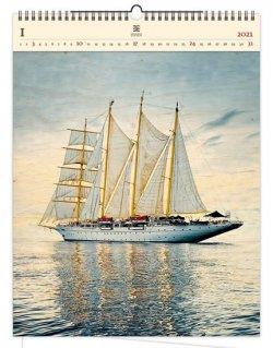 Kalendář 2021 dřevěný: Sailing, 450x590