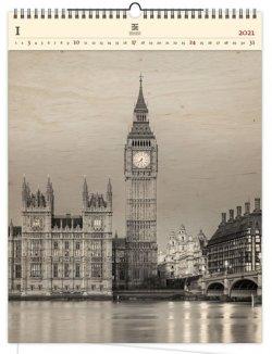 Kalendář 2021 dřevěný: Big Ben, 450x590