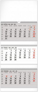 Kalendář 2021 nástěnný: 3měsíční standard skládací, 29,5 × 72 cm