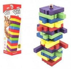Hra věž dřevěná 60 ks barevných dílků společenská hra v krabičce