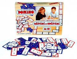 Domino sčítání a odčítání do 10 - společenská hra 60 ks v krabici
