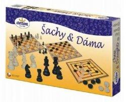 Šachy a dáma - společenská hra / dřevěné figurky a kameny v krabici