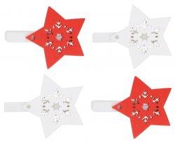 Hvězda dřevěná na kolíčku 4,5 cm - červená a bílá 4 ks