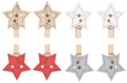 Hvězda dřevěná na kolíčku 4,5 cm (8 ks)