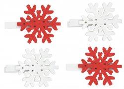 Vločka dřevěná na kolíčku 4,5 cm - červená a bílá 4 ks