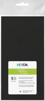 HEYDA Hedvábný papír 50 x 70 cm - černý 5 ks