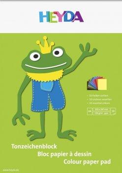 HEYDA Blok barevných papírů A4 - žába 10 listů